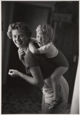 Ingrid Bergman at home with her son, Robertino Rossellini. Santa Marinella, Italy, 1956.