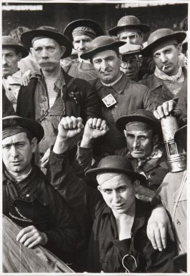 Group of miners at Front Populaire rally, Montrouge, near Paris