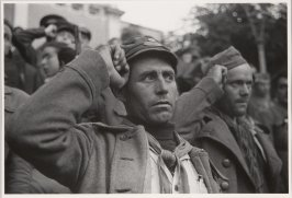 Republican soldiers with the closed fist (Communist) salute, Spain
