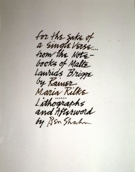 Title page from the Rilke Portfolio: For the Sake of a Single Verse