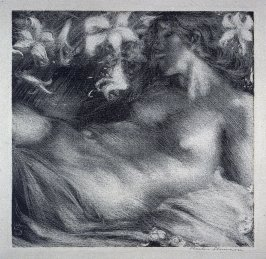 A Lithograph in White Line (Reclining Nude)