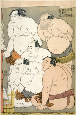 Wrestlers and Umpires Contemplating the Child Wonder Daidozan Bungoro - Plate 38 (part of triptych) from the portfolio Sharaku, Vol. 1 (Tokyo: Adachi Colour Print Studio, 1940)