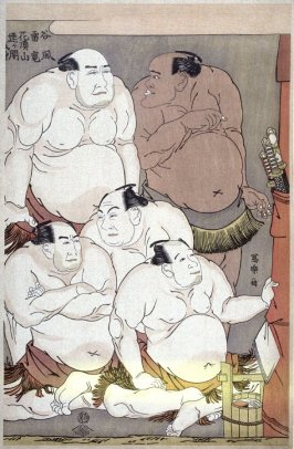 Wrestlers and Umpires Contemplating the Child Wonder Daidozan Bungoro - Plate 39 (part of triptych) from the portfolio Sharaku, Vol. 1 (Tokyo: Adachi Colour Print Studio, 1940)