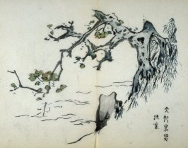 Plum Tree on Bank Overlooking Water, No.14 from the Volume on Plums - from: The Treatise on Calligraphy and Painting of the Ten Bamboo Studio