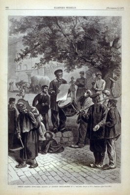 French Politics - Town-Crier Reading an Election Proclamation in a Village - from Harper's Weekly,  (November 3, 1877), p. 864