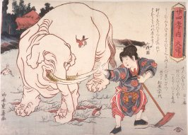 Taishun Tilling a Field with the help of an Elephant, from the series Twenty-four Paragons of Filial Devotion (Nijushido)