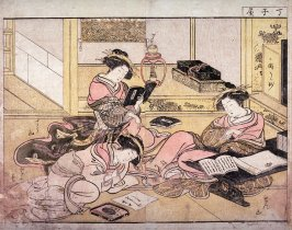 The Courtesans Chozan, Senzan, and Toyoharu of the Chojiya from the series A Mirror of Beautiful Women in the Green Houses (Seiro bijin awase sugata, kagami)
