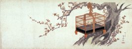 [Caged warbler on plum tree]