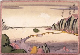 Evening Glow at Seta (Seta no sekisho) from the series Eight Views of Omi Province (Omi hakkei)