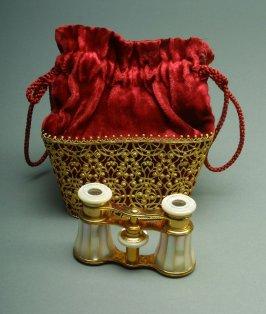 Opera glasses and case: red with gold embroidery