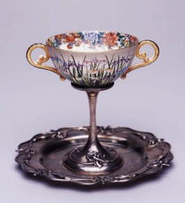 Two-handled cup and plate with iris design