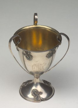 Footed vase cup with three loop handles