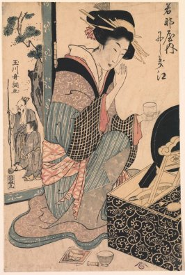 The Courtesan Nishikie of Wakanaya kneeling Before a Mirror Stand from an untitled series of portaits of courtesans