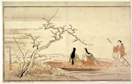 Court Ladies in Boat Viewing Plum Blossoms, page from a poetry anthology