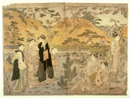 Women Viewing Maple Leaves (perhaps at Kaian Temple), two panels from a triptych
