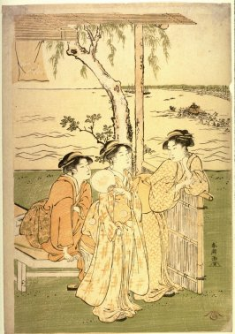 Three Women at a Teahouse near Takanawa, panel of a polyptych illustrating a summer festival