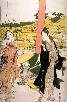Travelling Couple by Entrance Gate to a Shrine, panel of a polyptych