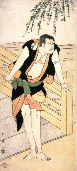 Arashi Ryuzo as an Outlaw(?) Standing by a Bridge, panel of a polyptych