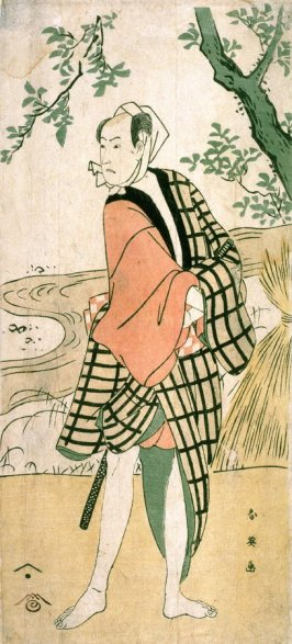 Bando Hikosaburo V as a Young Man by a Stream, panel of a polyptych