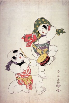 Two Children Performing a Lion Dance  with Mask and Drum