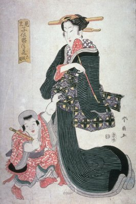 Mother and Child with a Toy Gun(?), from Act 6 of the series Children in Parodies of Acts of the Chushingura (MIkato kodomo chushingura)