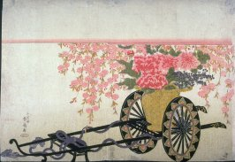 Basket of Flowers on Lacquer Cart
