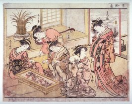 Five Courtesans of the Wakanaga (Hatsukara, Haruyagi, Isosasse, Shirashimo (?), Shirayu from the series A Mirror of Beautiful Women of the Green Houses (Seiro bijin awase sugata kagami)