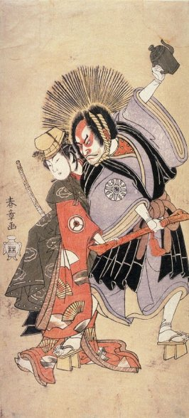 Nakamura Nakazo I and Iwai Hanshiro IV as a Priest and a Dancer Struggling over a Sword