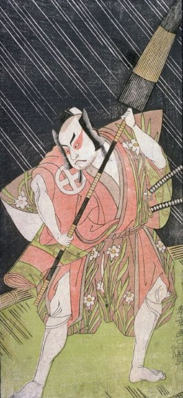 Otami Hiroji II as a Samurai on Bridge in Night Rain