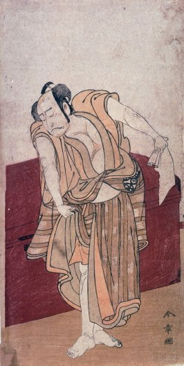 Nakamura Nakazo , possibly as Amakawaya Gihei Stnading Beside a Wooden Chest in act 10 of Chushingura