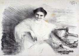 A Lady seated on a Couch