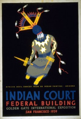 Apache Devil Dancer - Indian Court Series, Federal Building, Golden Gate International Exposition 1939 (1 of a series of 5 designs)