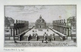 View of a square, sided by statued colonades, leading to a church