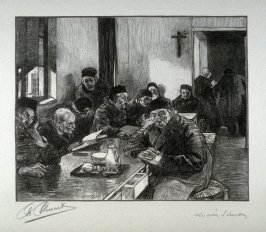 [Interior with people sitting at a table] from the portfolio Les Cartons d'estampes gravées sur bois, oeuvrage corporative (Portfolio of wood engravings after works of various French artists)