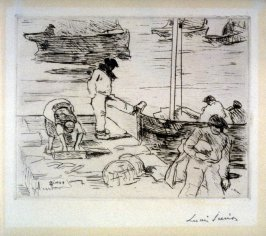 Scene on a Quay in Holland--Men and Boats