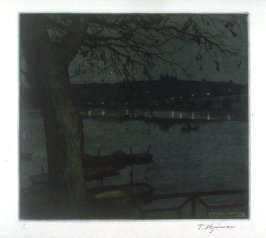 Hradcany - night scene across the Moldau, Prague