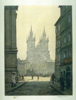Morning Hour in Old Prague - Tyn Church in Background
