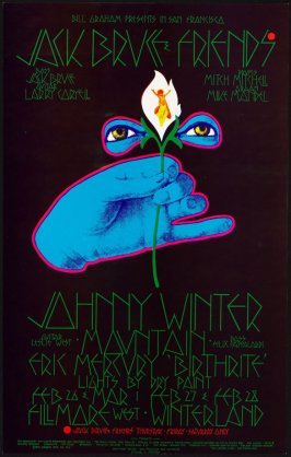 """Jack Bruce and Friends, Johnny Winter, Mountain, Eric Mercury """"Birthrite"""", February 26 & March 1, Fillmore West, February 27 & 28, Winterland"""