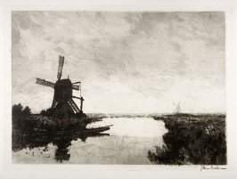 View of windmill and fisher in boat