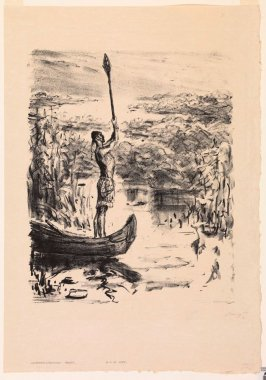 Chingachgook im Kanu hebt das Ruder hoch (Chingachgook standing at the helm of a canoe, holding aloft an oar), page 265 from the book Lederstrumpf-Erzählungen (The Leatherstocking Tales) by James Fenimore Cooper (Berlin: Pan-Presse, 1909)