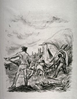 Die Wagen bergauf (Pushing the wagon uphill), page 405 from the book Lederstrumpf-Erzählungen (The Leatherstocking Tales) by James Fenimore Cooper (Berlin: Pan-Presse, 1909)