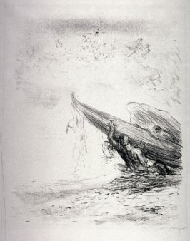 Indianer am Kanu hängend (Indians hanging off the canoe), page 223 from the book Lederstrumpf-Erzählungen (The Leatherstocking Tales) by James Fenimore Cooper (Berlin: Pan-Presse, 1909)