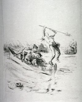 Der rudernde Irokese von Pfadfinder erschossen (While rowing, the Iroquois scout is shot), page 205 from the book Lederstrumpf-Erzählungen (The Leatherstocking Tales) by James Fenimore Cooper (Berlin: Pan-Presse, 1909)