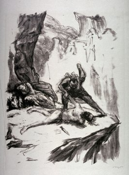 Magua ersticht Unkas (Magua stabs Unkas), page 187 from the book Lederstrumpf-Erzählungen (The Leatherstocking Tales) by James Fenimore Cooper (Berlin: Pan-Presse, 1909)