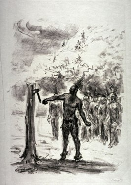 Unkas schlägt den Tomahawk in den Fichtenstamm (Unkas thrusts a tomahawk into the trunk of a pine tree), page 175 from the book Lederstrumpf-Erzählungen (The Leatherstocking Tales) by James Fenimore Cooper (Berlin: Pan-Presse, 1909)