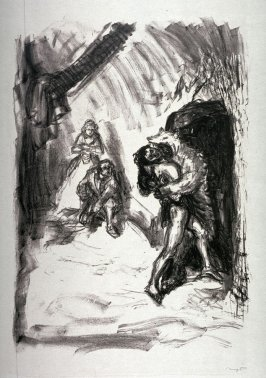 Falkenauge, als Bär vermummt, überwältigt Magua. Im Hintergrunde Duncan und Alice (Hawk Eye, disguised as a Bear, overwhelms Magua. Duncan and Alice in the background), page 159 from the book Lederstrumpf-Erzählungen (The Leatherstocking Tales) by James F