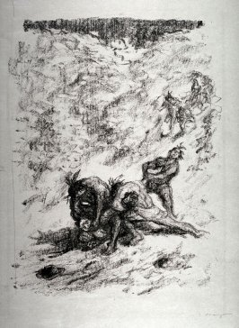 Indianer stürzen sich auf Harry Hurry (Indians rush towards Harry Hurry), page 19 from the book Lederstrumpf-Erzählungen (The Leatherstocking Tales) by James Fenimore Cooper (Berlin: Pan-Presse, 1909)
