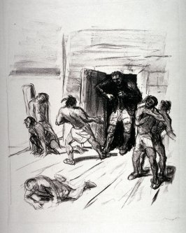 Harry Hurry bekämpft die eingedrungenen Indianer (Hurry Harry fought the invading Indians), page 35 from the book Lederstrumpf-Erzählungen (The Leatherstocking Tales) by James Fenimore Cooper (Berlin: Pan-Presse, 1909)