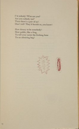 Sampler, poetry by Emily Dickinson, art by Kiki Smith
