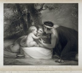 Shakespeare Nursed by Tragedy & Comedy, after George Romney